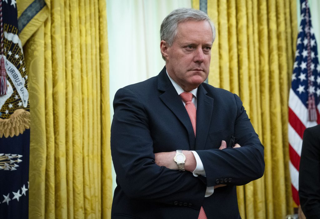 White House chief of staff Mark Meadows listens during a meeting at the White House on April 30.