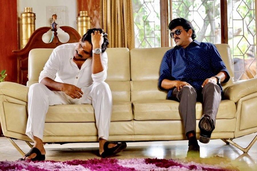 Power Star movie still featuring Pawan Kalyan and Chiranjeevi