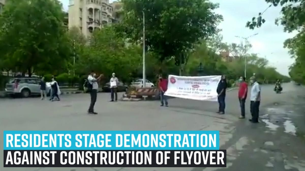 Residents stage demonstration against construction of flyover in Dwarka
