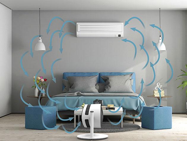 Een demonstratie van een ventilator die een slaapkamer koelt