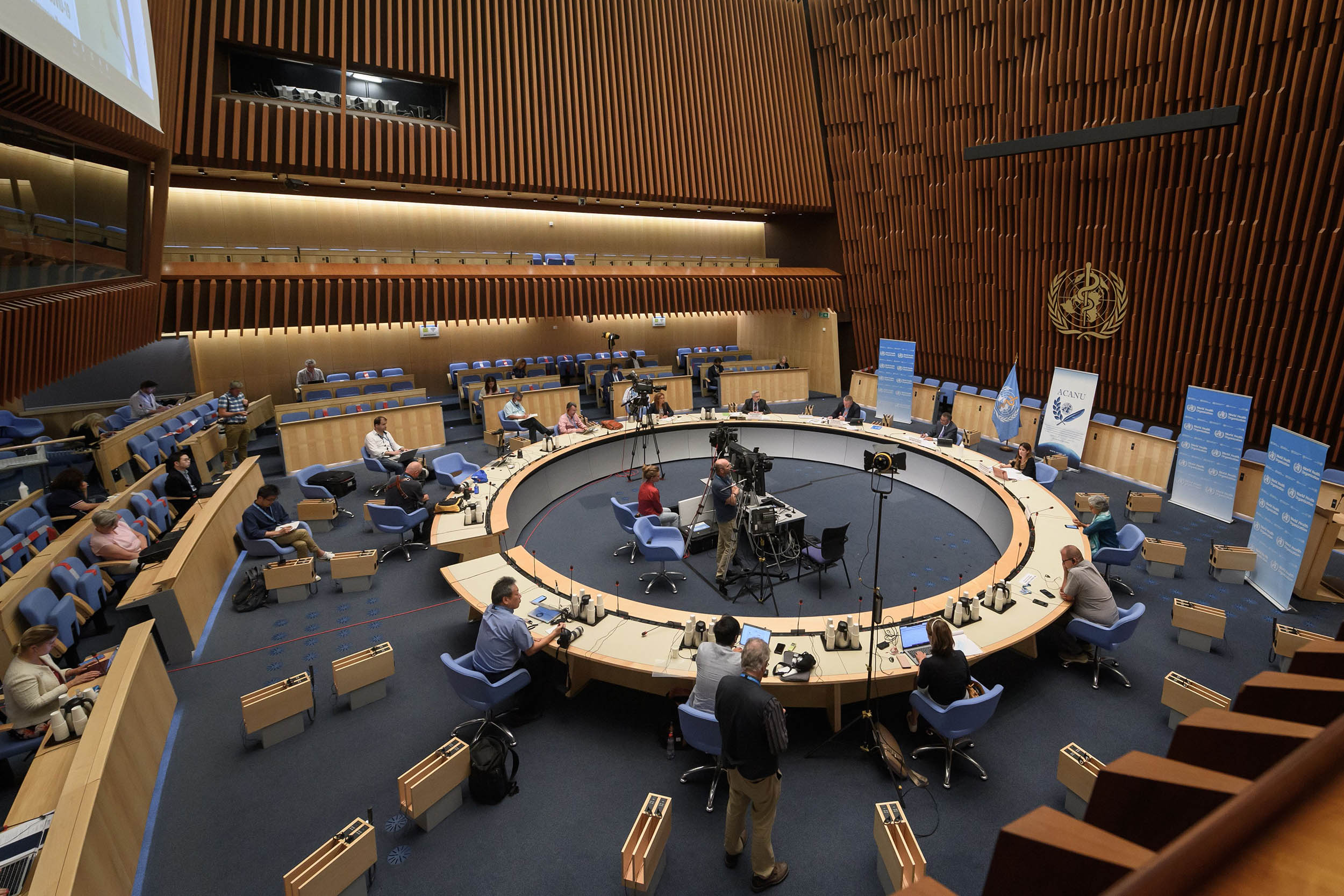 General view during a press conference at the World Health Organization (WHO) on July 3, at the WHO headquarters in Geneva.