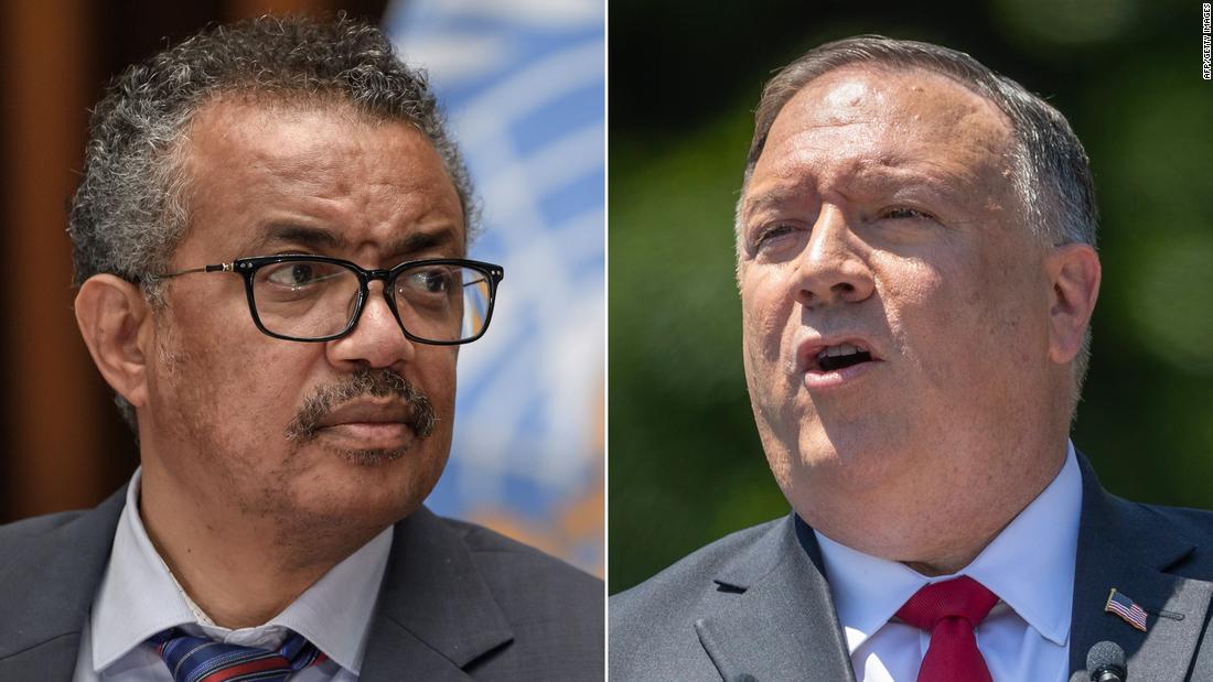 """WHO chief Tedros Adhanom Ghebreyesus said Mike Pompeo's comments were """"untrue and unacceptable."""""""