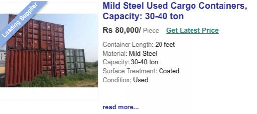 indiamart containerprijs