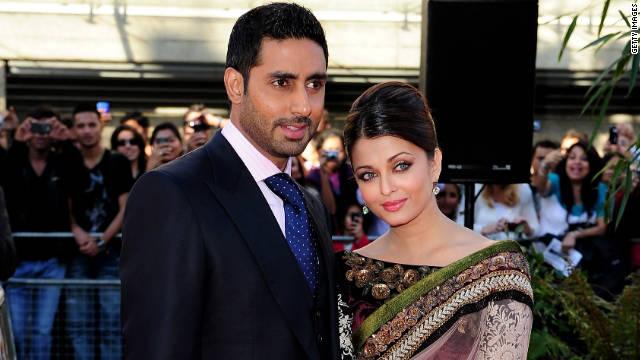Abhishek Bachchan en Aishwarya Rai op de BFI Southbank op 16 juni 2010 in Londen, Engeland.