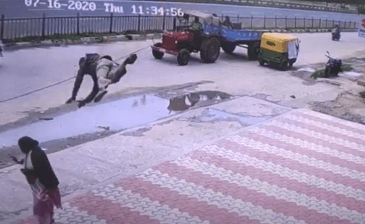 Bungelende kabel gooit autobestuurder in nietsvermoedende vrouw; Pas op voor Bengaluru-voetgangers