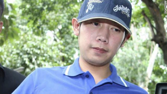 Vorayuth Yoovidhya, de kleinzoon van de maker van Red Bull-energiedrank, wordt op 3 september 2012 gearresteerd op het politiebureau van Thong Lor in Bangkok, Thailand.