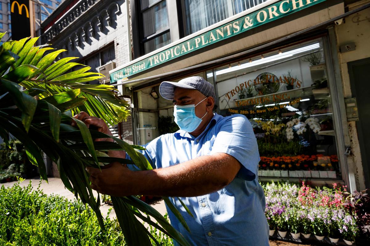 Tropische planten en orchideeën versterkt door buiten dineren na sluiting van COVID-19