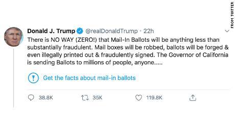 Feitencontrole De recente beweringen van Trump dat stemmen per post vol fraude is