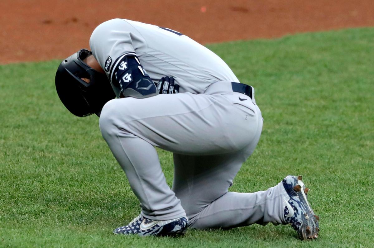 Yankees 'Gleyber Torres' van dag tot dag 'nadat ze in de elleboog waren geraakt