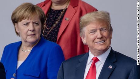 Angela Merkel, Duitse kanselier en de Amerikaanse president Donald Trump in 2018.