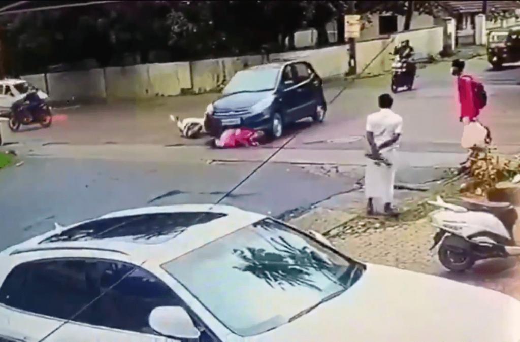 Mangaluru-vrouw aangereden door auto, gesleept voor lokale stop, de bestuurder betrapt op camerabeelden
