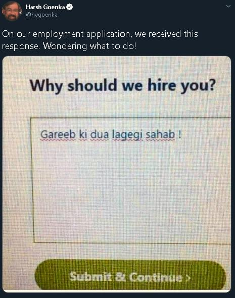 Harsh Goenka passes off viral joke as actual job application
