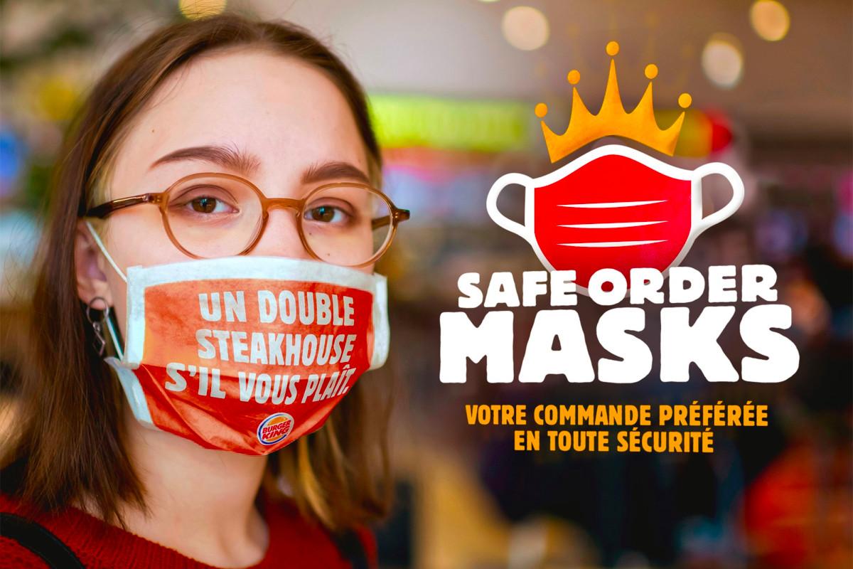 Burger King voorbedrukte gezichtsmaskers met orders erop