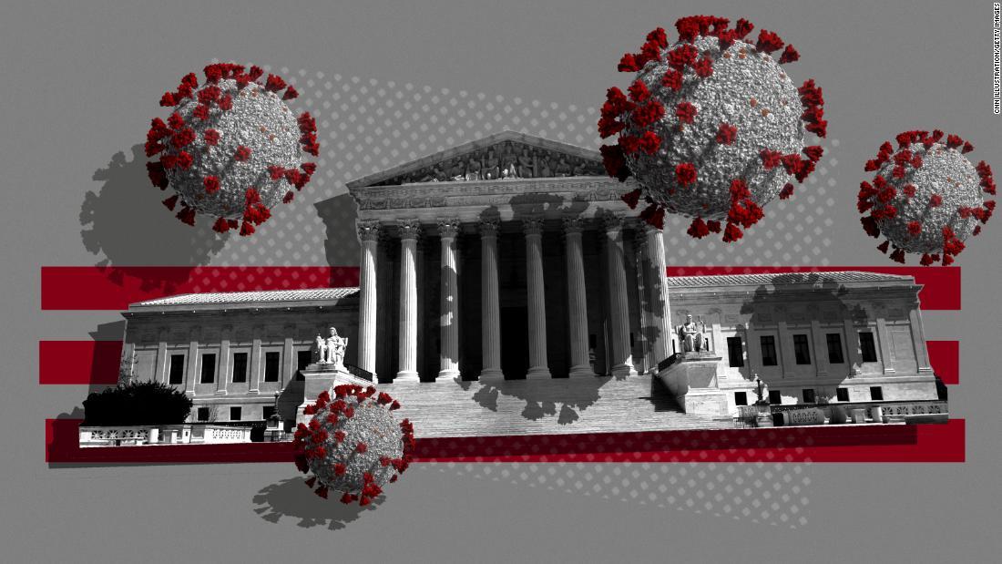 Hoge sociale afstanden van het Hooggerechtshof van beslissingen over het coronavirus