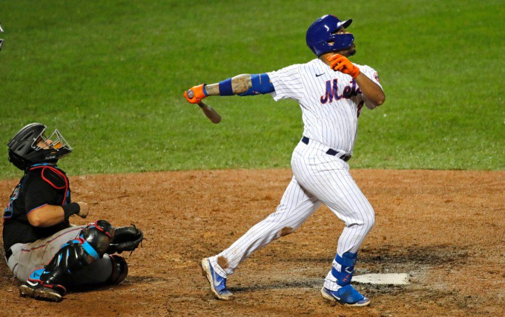Mets 'Dominic Smith krijgt een grote hit, maar faalt op de grootste plek