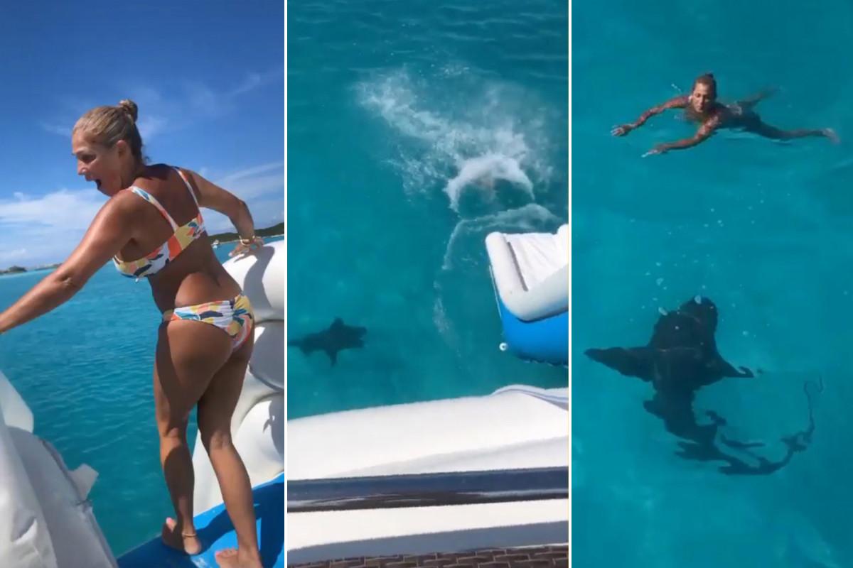 Vrouw 'gestoten' door haai nadat ze haar pad opzwom